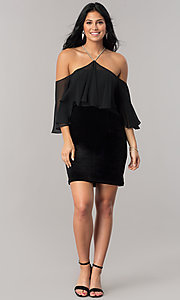 Image of black Dave and Johnny sheath homecoming dress. Style: DJ-A5479 Detail Image 1