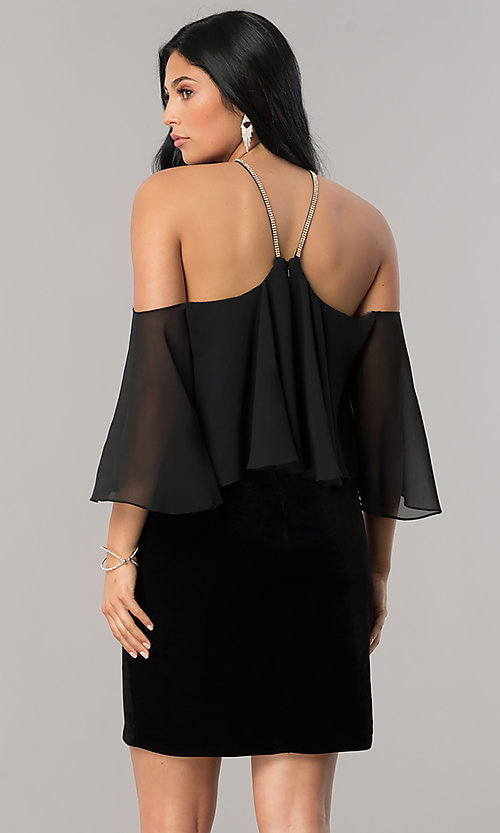 Image of black Dave and Johnny sheath homecoming dress. Style: DJ-A5479 Back Image