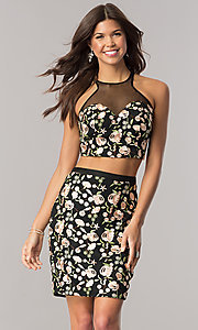 Image of black two-piece embroidered short homecoming dress. Style: DJ-A5521 Front Image