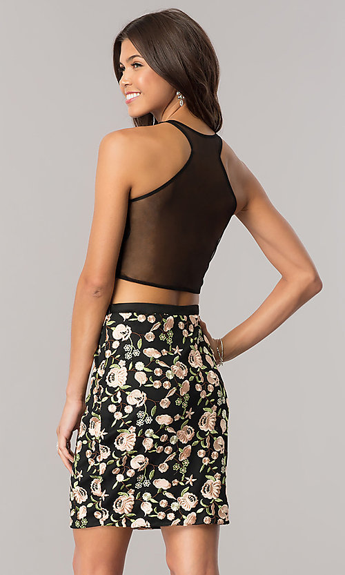 Image of black two-piece embroidered short homecoming dress. Style: DJ-A5521 Back Image