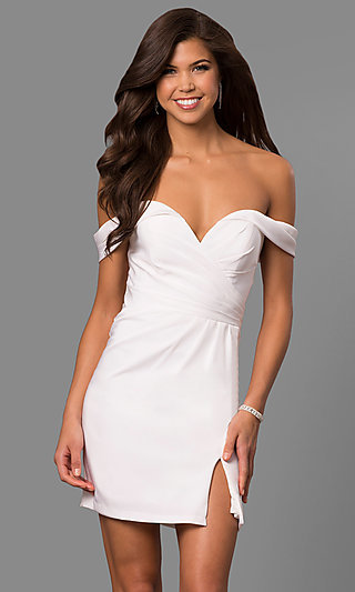 Short Off-the-Shoulder Faviana Homecoming Dress