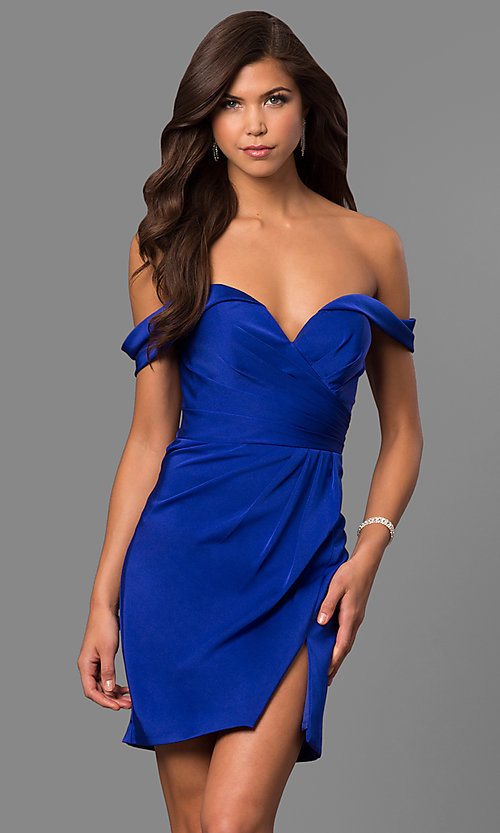 Image of short off-the-shoulder Faviana homecoming dress. Style: FA-8050 Detail Image 1