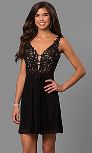 Image of short illusion-bodice homecoming dress by Faviana. Style: FA-8070 Detail Image 3