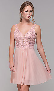 Image of short illusion-bodice homecoming dress by Faviana. Style: FA-8070 Front Image