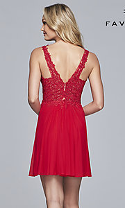 Image of short illusion-bodice homecoming dress by Faviana. Style: FA-8070 Detail Image 7