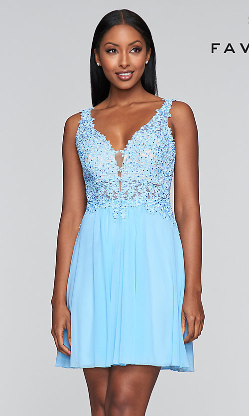 Image of short illusion-bodice homecoming dress by Faviana. Style: FA-8070 Detail Image 4