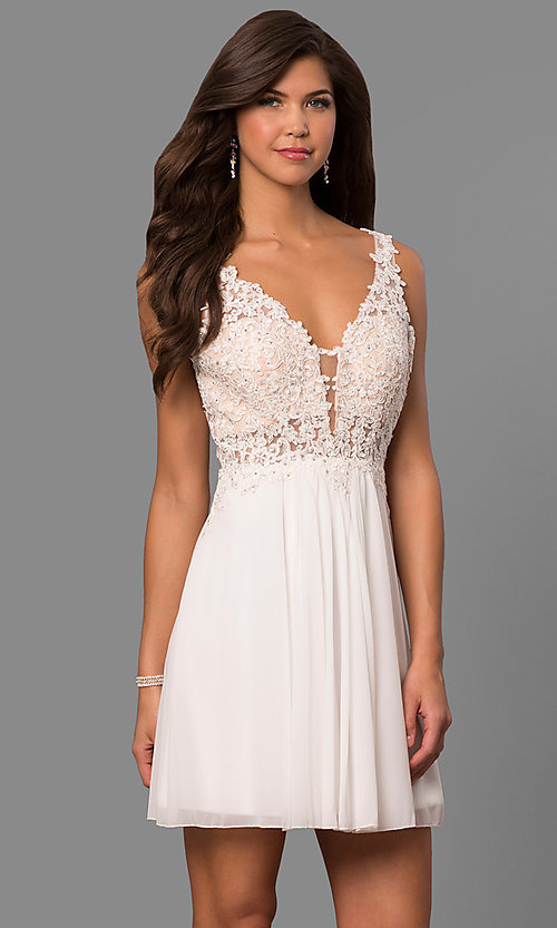 Image of short illusion-bodice homecoming dress by Faviana. Style: FA-8070 Detail Image 2