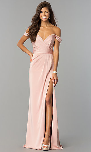 Long Formal Off-the-Shoulder V-Neck Dress with Slit