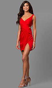 Image of short v-neck homecoming dress with cut-out back. Style: FA-8052 Detail Image 3