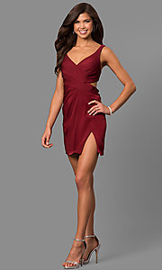 Image of short v-neck homecoming dress with cut-out back. Style: FA-8052 Detail Image 1