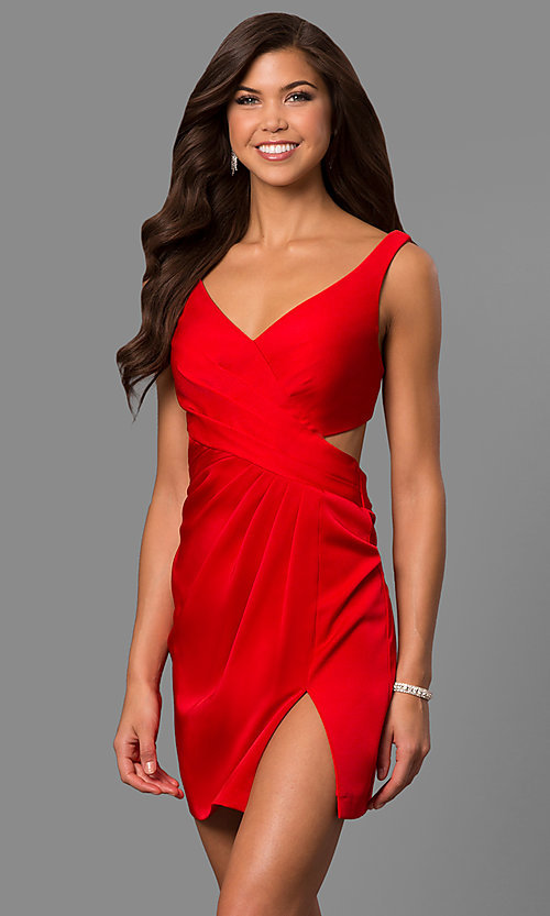 Image of short v-neck homecoming dress with cut-out back. Style: FA-8052 Detail Image 2