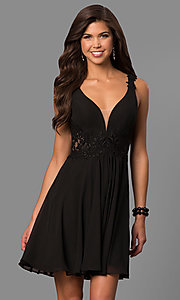 Image of v-neck short homecoming dress with lace applique. Style: FA-8072 Detail Image 1