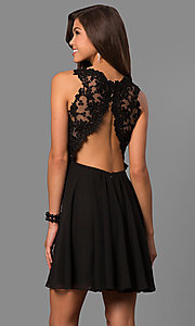 Image of v-neck short homecoming dress with lace applique. Style: FA-8072 Back Image