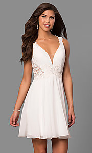 Image of v-neck short homecoming dress with lace applique. Style: FA-8072 Front Image