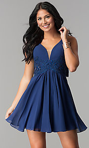 Image of v-neck short homecoming dress with lace applique. Style: FA-8072 Detail Image 3