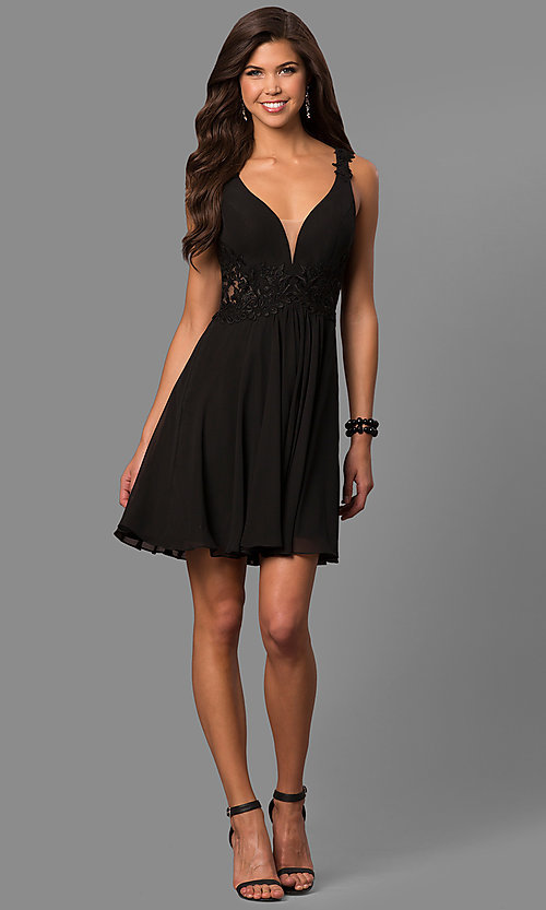 Image of v-neck short homecoming dress with lace applique. Style: FA-8072 Detail Image 2