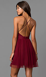 Image of wine red deep v-neck short open-back party dress. Style: LUX-LD4032 Back Image