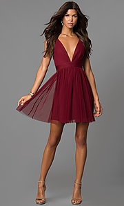 Image of wine red deep v-neck short open-back party dress. Style: LUX-LD4032 Detail Image 1