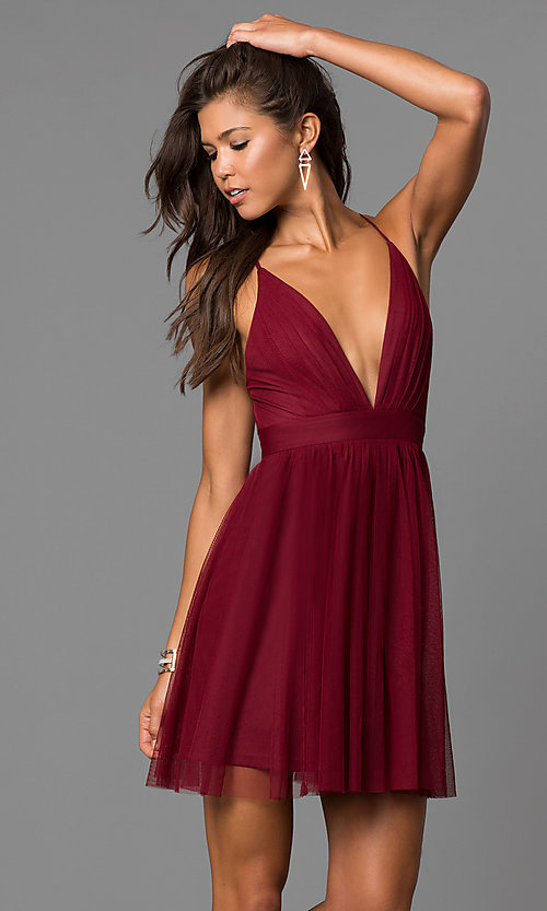 Image of wine red deep v-neck short open-back party dress. Style: LUX-LD4032 Front Image