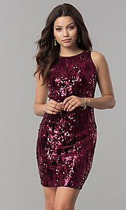 Image of short wine red sequin homecoming dress. Style: EM-DHU-3217-550 Front Image