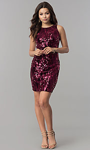 Image of short wine red sequin homecoming dress. Style: EM-DHU-3217-550 Detail Image 1