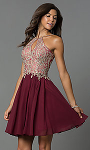 Image of short high-neck Dave and Johnny homecoming dress. Style: DJ-A6226 Detail Image 1