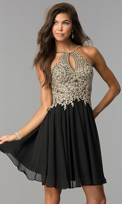 Image of short high-neck Dave and Johnny homecoming dress. Style: DJ-A6226 Front Image