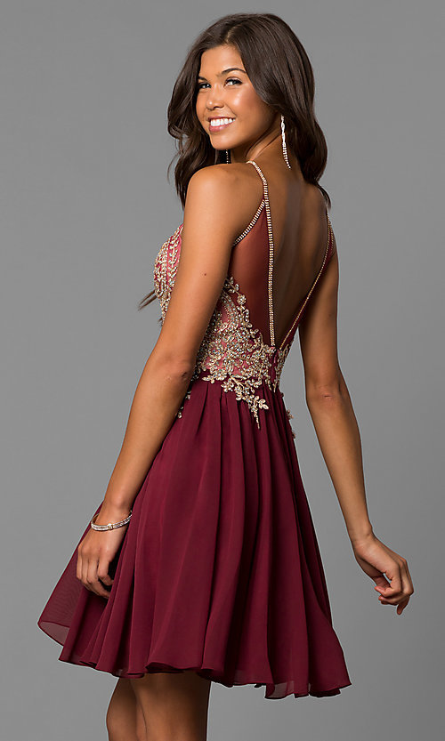 Image of short high-neck Dave and Johnny homecoming dress. Style: DJ-A6226 Back Image