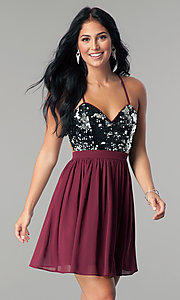 Image of sequin-bodice burgundy red short homecoming dress. Style: LP-24742 Front Image