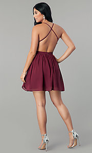 Image of sequin-bodice burgundy red short homecoming dress. Style: LP-24742 Detail Image 3