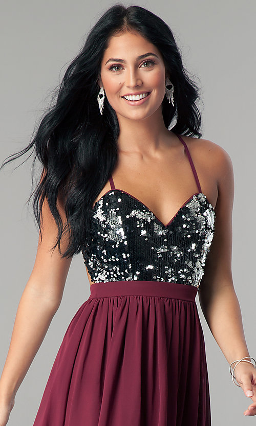 Image of sequin-bodice burgundy red short homecoming dress. Style: LP-24742 Detail Image 1
