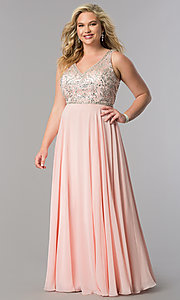 Image of long plus-size accented v-neck bodice evening dress. Style: DQ-9589P Detail Image 1