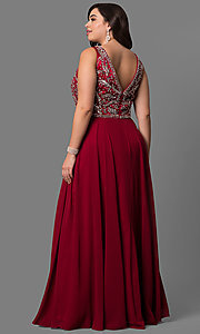 Image of long plus-size accented v-neck bodice evening dress. Style: DQ-9589P Back Image