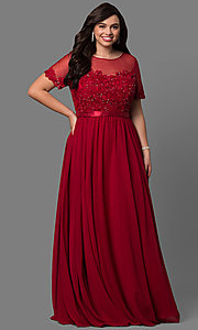 Image of plus-size long formal dress with sleeved sheer bodice. Style: DQ-9710P Front Image