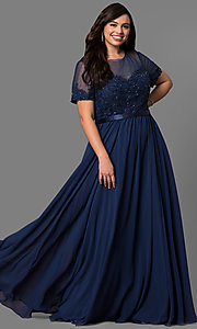 Image of plus-size long formal dress with sleeved sheer bodice. Style: DQ-9710P Detail Image 3