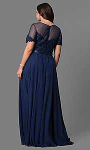 Image of plus-size long formal dress with sleeved sheer bodice. Style: DQ-9710P Detail Image 4