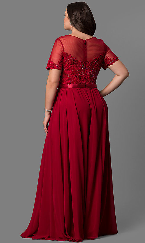 Image of plus-size long formal dress with sleeved sheer bodice. Style: DQ-9710P Back Image