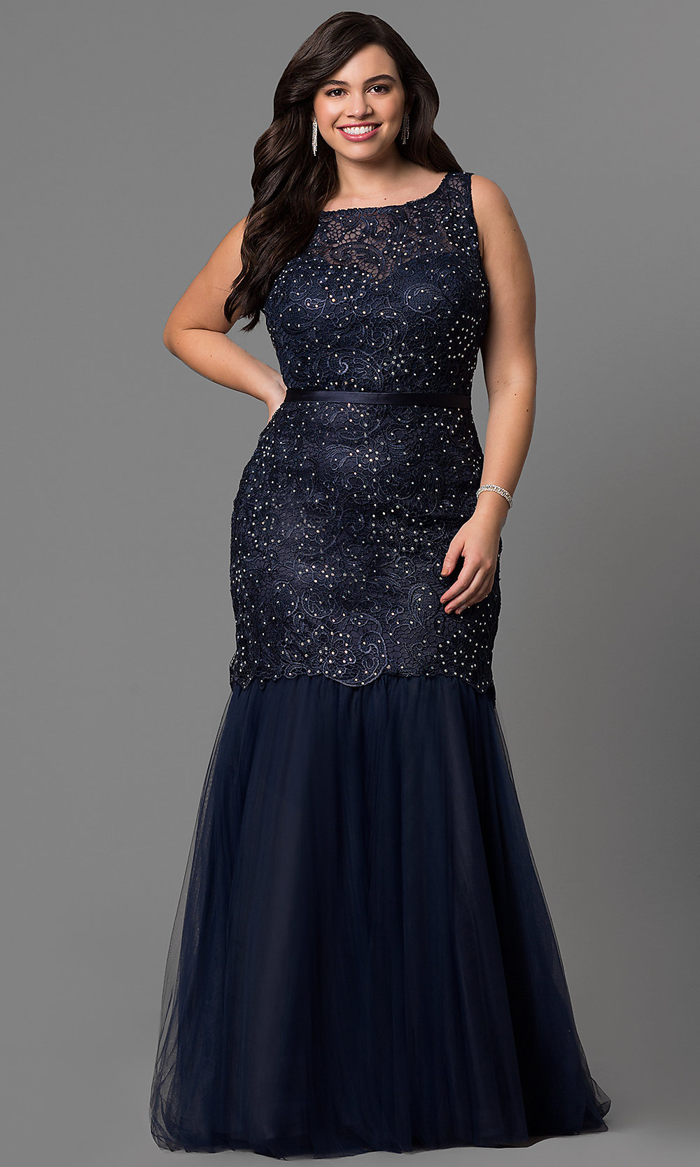 Navy Lace Mermaid Plus-Size Prom Dress - PromGirl