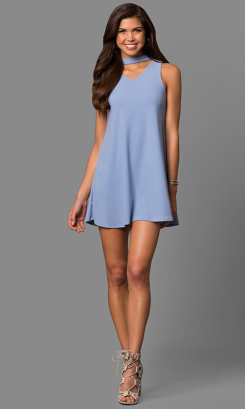 Image of short shift mini party dress with choker collar. Style: CH-2912 Detail Image 2