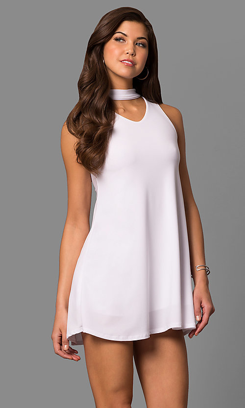 Image of short shift mini party dress with choker collar. Style: CH-2912 Front Image