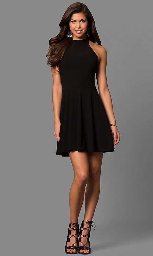 Image of high-neck halter short a-line black party dress. Style: CH-2910 Detail Image 1