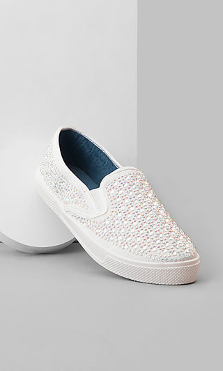 Flat White Studded Sneakers