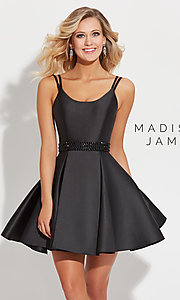 Image of short Madison James scoop-neck pleated prom dress. Style: NM-17-508 Front Image