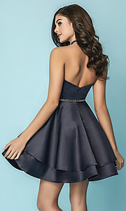 Image of print navy blue short prom dress with tiered skirt. Style: HS-27154 Back Image