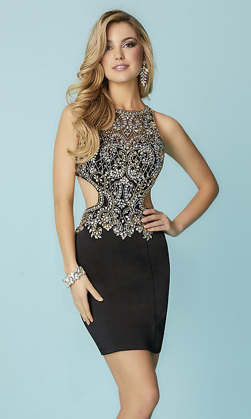 Short Open Back Hannah S Homecoming Dress with Beaded Bodice
