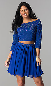 Image of sleeved two-piece short prom dress by Hannah S. Style: HS-27163 Front Image
