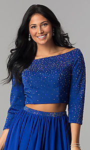 Image of sleeved two-piece short prom dress by Hannah S. Style: HS-27163 Detail Image 1