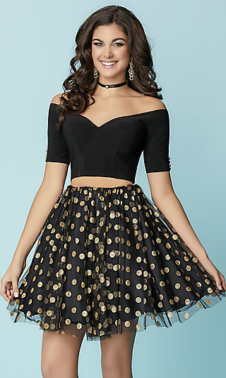 Two-Piece Short Hannah S Off-the-Shoulder Homecoming Dress