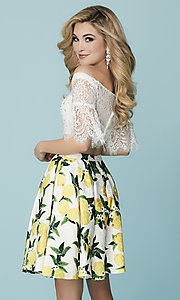 Image of short two-piece Hannah S homecoming dress with lace. Style: HS-27188 Back Image