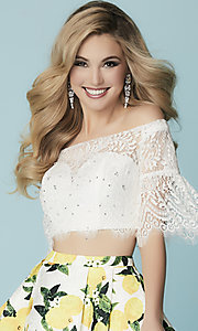Image of short two-piece Hannah S homecoming dress with lace. Style: HS-27188 Detail Image 1